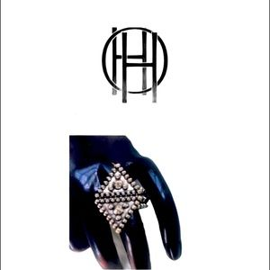 New House Of Harlow 1960 Studded Silver Ring
